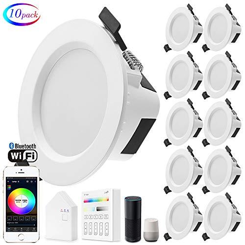10er set Wlan Bluetooth 9W LED Einbaustrahler RGBW+CCT 5 in 1 Einbauleuchte Spot Dimmbar 230 Volt Einbauleuchten mit Touchscreen Smart Schalter Panel,BT Mesh Smart Bridge