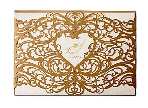 WISHMADE 20 Pcs Faire-Part de Mariage d'or Découpé au Laser avec Enveloppes, Cartes d'Invitation Anniversaire Imprimable avec Coeur Design pour Fiançailles Douche Nuptiale Baptême Retraite
