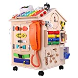 40-in-1 Wooden Busy Board Montessori Toys, Preschool Educational Learning Toy, Basic Life Skills and Fine Motor Activity for Toddlers Kids, Sensory Board Game Travel Toy, 13 x 13 x 20 inches