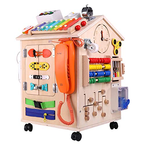 MICKYU 40-in-1 Wooden Busy Board Montessori Toys, Preschool Educational Learning Toy,...