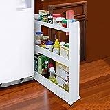 Organizador con niveles y ruedas delgado, que se desliza hacia fuera, para cocina, baño, plástico, 3 niveles