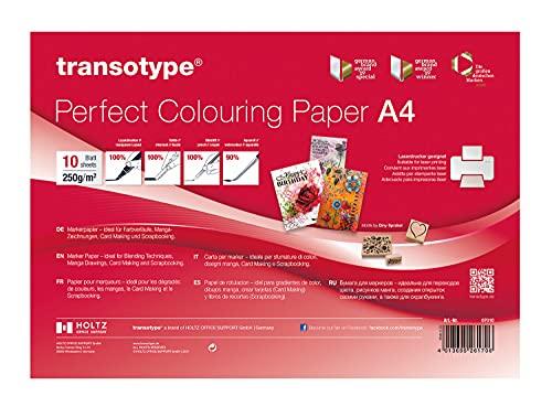 transotype 07010 Perfect Colouring Paper, Markerpapier DIN A4, 250 g/qm, 10 Blatt, für Farbverläufe, Manga-Zeichnungen, Card-Making und Scrapbooking, geeignet für Laserdrucker, unbekannt, weiß