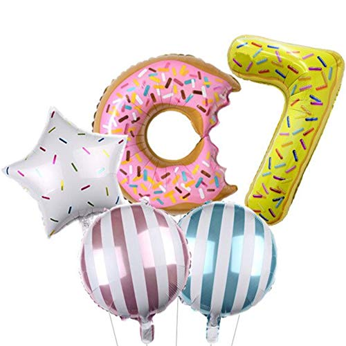 DIWULI, Ballon-Set, XL Sweet Donut Zahlen-Ballon, Zahl 7, Donut-Ballon, 7. Kinder-Geburtstag Mädchen Junge, Motto-Party, Dekoration, Folien-Ballon, Folien-Luftballons, Zahlenluftballon, Stern-Ballon