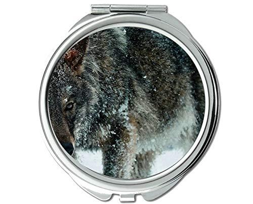 Yanteng Spiegel, Kleiner Spiegel, Taschenspiegel mit Tierwolfohren, 1 X 2X Vergrößerung