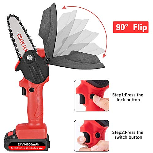 Mini Chainsaw with 2 Batteries and 4 Saw Chains, Handheld Cordless Chainsaw for Tree Branch Wood Cutting Red Battery Chainsaw
