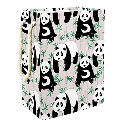 Cesta De Almacenamiento Lindo panda de bambú Cesto De Ropa Plegable Para El Hogar Simple 49x30x40.5 cm