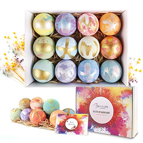 BESTOPE Bath Bombs Gift Set 12 Fizzies, Shea & Coco Butter Dry Skin Moisturize, Perfect for Bubble & Spa Bath. Handmade Birthday Mothers Day Gifts idea for Her/Him, Wife, Girlfriend