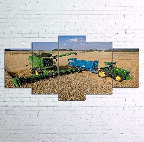 5 Stück Leinwand Auf Blue Sky Weizen Feld Mähdrescher Traktor Leinwand Bild Malerei Dekor Druck Poster Wandkunst + Blauer Himmel Weizen Feld Mähdrescher Ackerschlepper + Blauer Himmel Weizen Feld