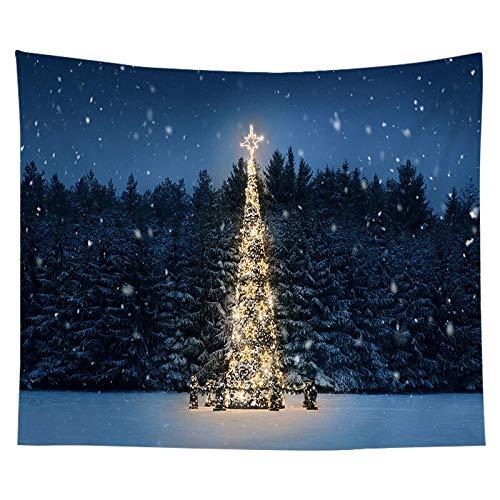 N / A Tapiz navideño Acuarela árbol de Navidad impresión Junto a la Cama Tela Colgante Dormitorio Fondo Tela Pared A7 200x150 cm