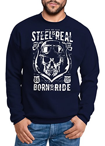 Neverless Sweatshirt Herren Steel is Real Biker Totenkopf Skull Stahlhelm Born to Ride Rundhals-Pullover Navy XL