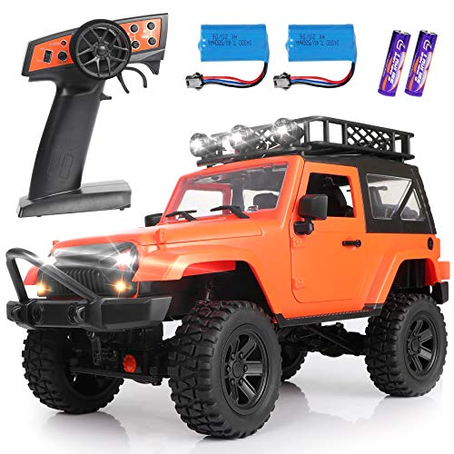 Remote Control Car Toy, 1/14 RC Car Toy 4WD Off-Road RC Cars 2.4GHz Remote Control Range Over 50 Meters RC Truck Hobby Car with 2 Rechargeable Batteries, Led Light, RC Racing Car for Kids Adults
