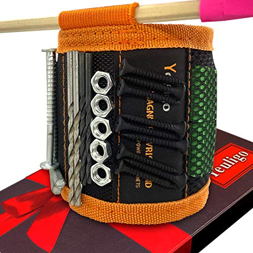 Magnetic Wristband Gifts for Men, Tool Belts with 12 Strong Magnets for Holding Tools, Screws, Nails, Bolts, Drill Bits, Unique Festival Gadget for Father/Dad, Husband, Woodworker
