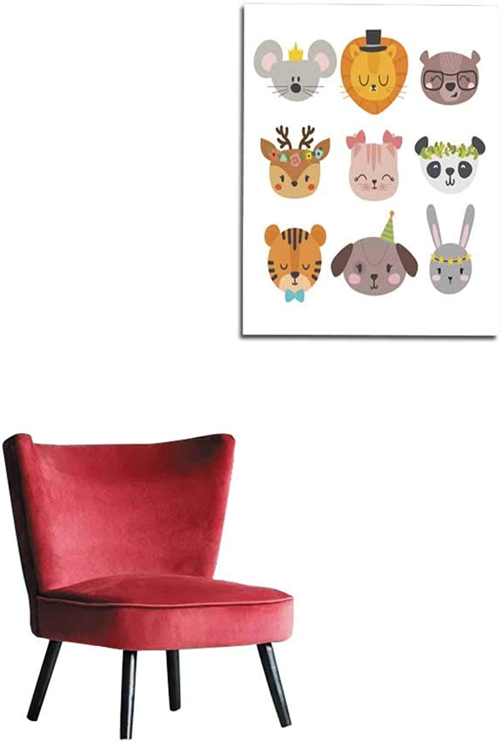 Longbuyer Home Decor Wall Cute Animals with Funny Accessories Cartoon Zoo Set of Hand Drawn Smiling Characters Cat Lion Panda Dog Tiger Deer Bunny Mouse and Bear Mural 32 x36