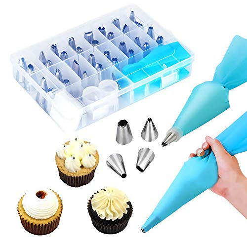 33-Pcs Cake Decorating Supplies Tips Kits Baking Supplies Piping Set with 24 Icing Tips, 2 Reusable Pastry Bags, 3 Icing Comb, 2 Couplers, 1 Flower Nail (33)