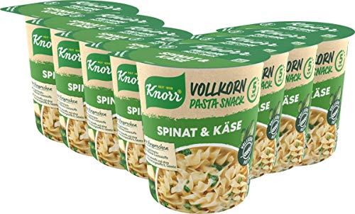 Knorr Vollkorn Pasta Snack Spinat & Käse leckeres Nudelgericht fertig in nur 5 Minuten - 8 x 60 g Becher -, 480 g