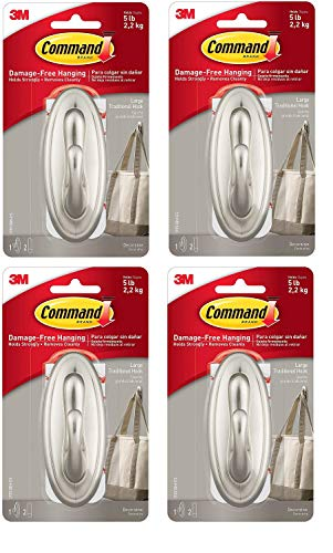 Command Large Traditional Hook, Brushed Nickel, Holds 5 lbs, 4 Hooks