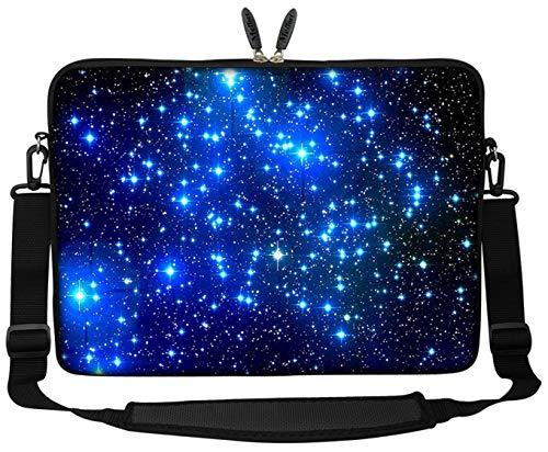 Meffort Inc 15 15.6 inch Neoprene Laptop Sleeve Bag Carrying Case with Hidden Handle and Adjustable Shoulder Strap - Galaxy Stars