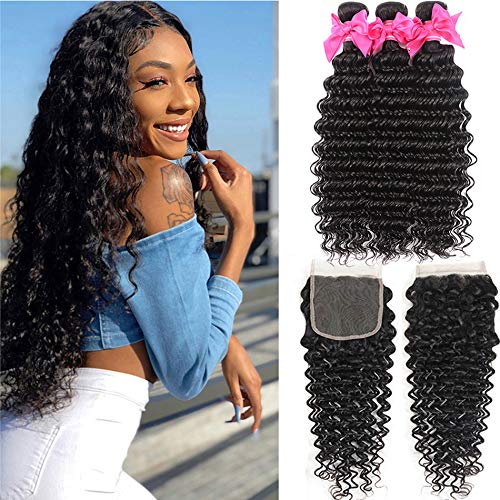 Brazilian Deep Wave Human Hair 3 Bundles with Closure Unprocessed Virgin Human Hair Deep Curly Bundles with Free Part Lace Closure Natural Black (12 14 16+10,lace closure)