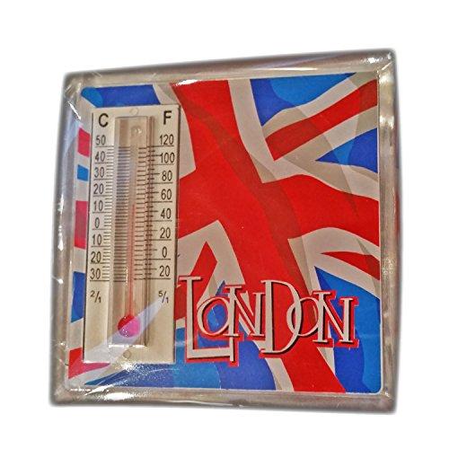 Thermometermagneet met waaierige Britse vlag en opschrift