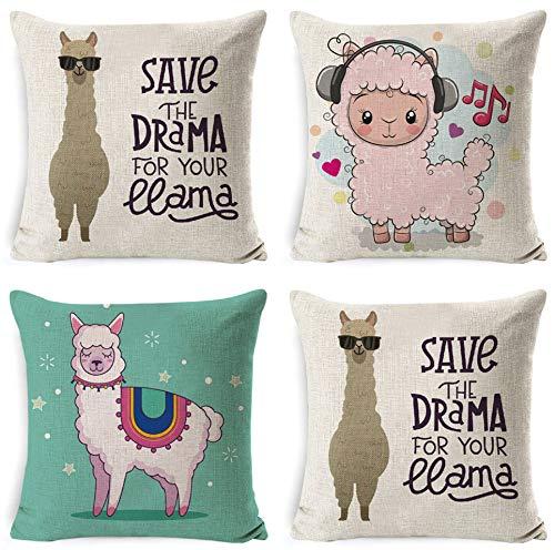 JgZATOA CushionCover Cute Alpaca LivingRoomSofaPillow CasesBedPillowCaseOfficeCoffeeCushion45X45CmSetOf4