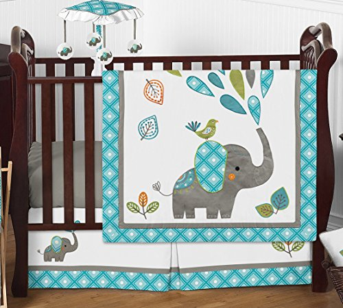 Turquoise Blue Gray and White Mod Elephant Girl or Boy Baby Bedding 4 Piece Crib Set
