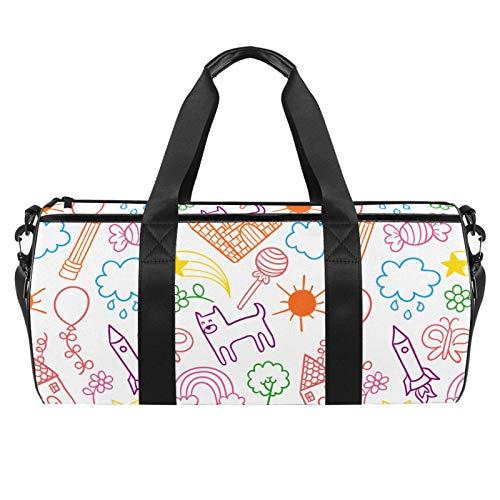 LAZEN Hombro Handy Sports Gym Bags Travel Duffle Totes Bag para hombres, mujeres, niños, dibujos, patrón creativo