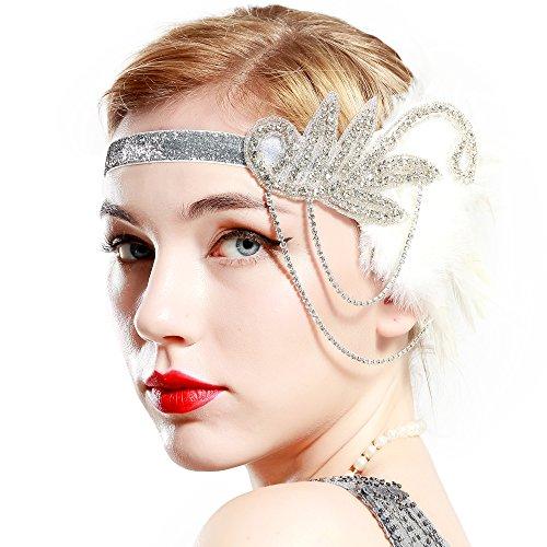BABEYOND Bandeau Plume Année 20 Gatsby Accessoires Gatsby Flapper Bandeau Perlé 1920s Serre-tête Vintage Classique Partie à Thème Marriage Great Headband (Blanc)