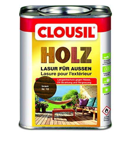 CLOUsil Holzlasur Holzschutzlasur für außen braun Nr. 12, 0.75L: Wetterschutz, UV-Schutz, Nässeschutz und Schimmel für alle Holzarten - in verschiedenen Farben