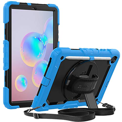 SEYMAC Case for Galaxy Tab S6 Lite 10.4 inch 2020 (SM-P610/P615), Full Protection 360 Rotating Stand Case with Screen Protector/Hand Strap, Cover for Samsung Tab S6 Lite 10.4'' 2020, Black/Sky Blue