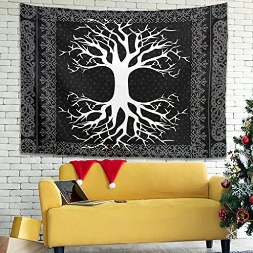 Tapiz de pared con runas vikingas, árbol de la vida, decoración de pared, para dormitorio, salón como toalla de playa, colcha blanca, 230 x 150 cm