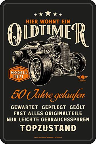 Lobo Negro Deko Blechschild als Geschenk zum 50. Geburtstag: Oldtimer Modell 1971-20x30cm