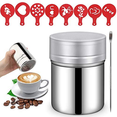 Edelstahl Kakaostreuer, Schokoladenstreuer Edelstahl Pulver Shaker mit 8 Kunststoff Cappuccino Kaffee Barista Schablonen Kaffee und Kunst Schablonen Stift