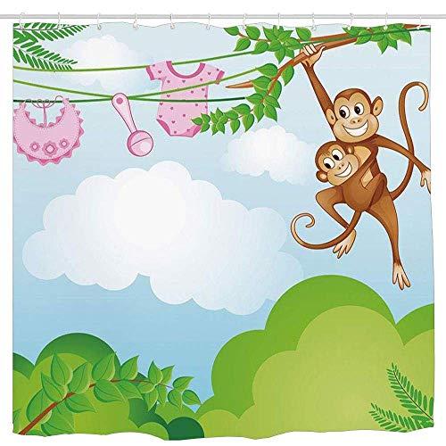 N\A Vivero, Mono balanceándose con el niño Ropa de bebé Chimpancé Jungle Joy Unión, Verde Marrón Rosa Impermeable Cortina de Ducha Impermeable