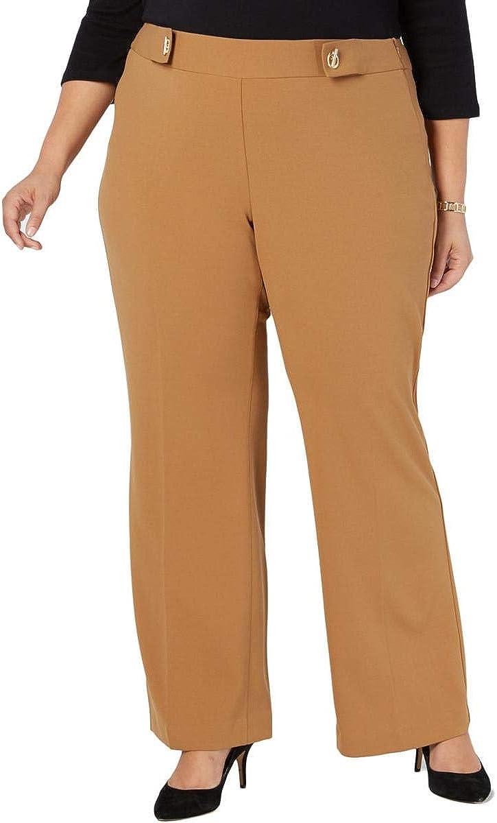 I-N-C Womens Grommet-Detail Casual Wide Leg Pants, Brown, 28W