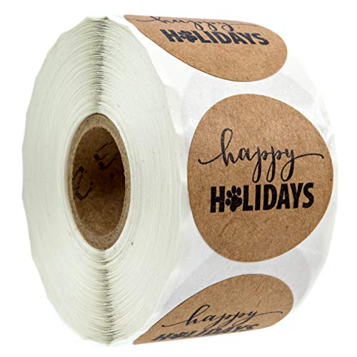 """1.5"""" Happy Holidays Sticker with Paw Print / 500 Dog Paw Print Christmas Stickers Per Roll"""