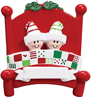 Personalized Bed Heads Family of 2 Christmas Tree Ornament 2019 - Couple Twin Sibling Pattern Quilt Red Board Strip Sleep Hat Mistletoe Grandchild Kid Cousin Year - Free Customization (Two)