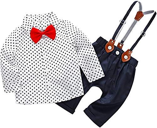 Crystallly Baby Jungen Bekleidung Set Festliche Hemd Baumwolle Kleidung Hose Hosentrager Einfacher Stil Taufanzug Gentleman Anzug Fliege Kinderbekleidung (Color : Sternchen, One Size : 70)