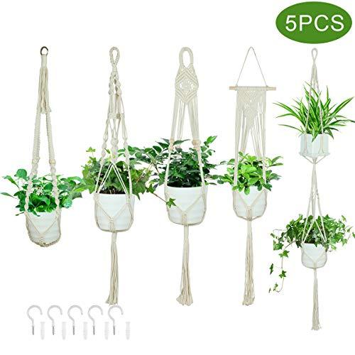Vlovelife Lot de 5 cintres en macramé avec crochets, 5 tailles pour intérieur à suspendre en corde de coton pour plantes