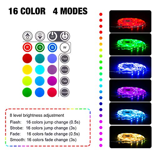LED Strips Lights 5M, SHINELINE 16.4Ft RGB SMD 5050 Dimmer Led Strip Lights with Remote Mood Light for Home Kitchen Christmas Wedding Party DIY Decoration