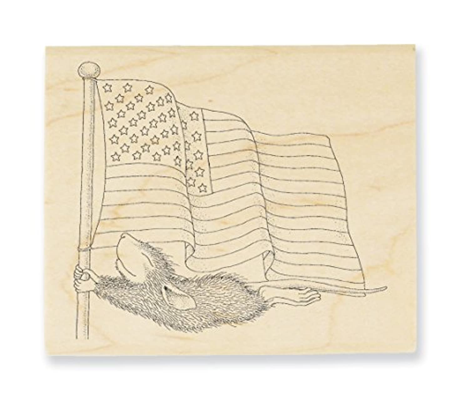 STAMPENDOUS House Mouse Wood Stamp, Flag Flyer