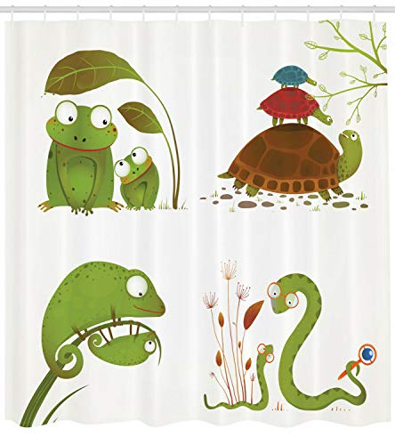 taquxinlaowan Tier Duschvorhang Schlange Frosch Ninja Reptilien Druck für Badezimmer
