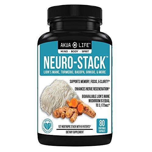 Brain Support Supplement - 27 Nootropics withAbsorption Enhancers, Nootropic Stack, Brain Booster, Focus, Anxiety Relief, Vegan, Organic Lion's Mane Mushroom Capsules, Turmeric Curcumin, Bioperine