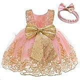 FYMNSI Vestito da festa per bambini e bambine, senza maniche, con fascia, rosa + pizzo, 6-12 Mesi