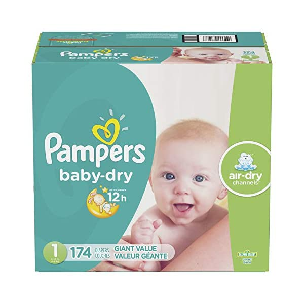 Diapers Size 1 / Newborn (8-14 lbs), 174 Count – Pampers Baby Dry Disposable...
