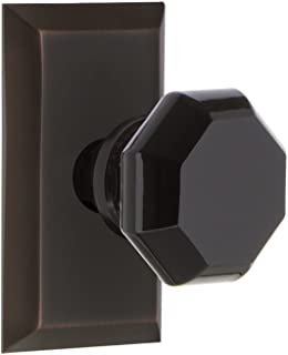 Nostalgic Warehouse 725149 Studio Plate Privacy Waldorf Black Door Knob in Timeless Bronze, 2.75