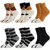 QKURT 6 pares de calcetines peludos con patas de gato, suaves y cómodos calcetines gruesos de invierno cálidos para dormir para mujeres, niñas y hombres