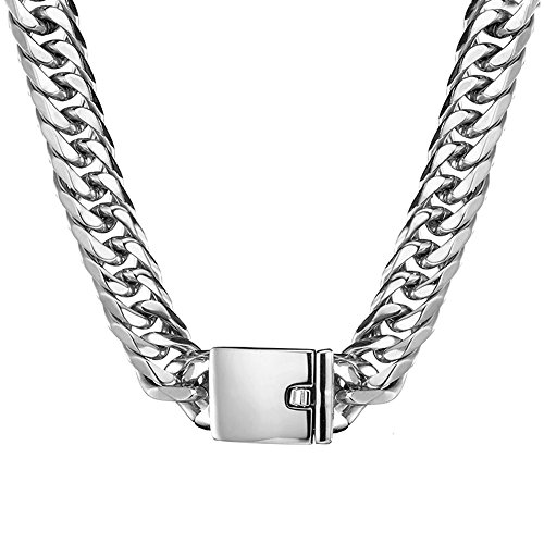 Jxlepe Miami Cuban Link Chain 16mm Big Silver White Stainless Steel Curb Necklace for Men (20)