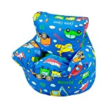 Childrens Bean Bag Chair 100% Cotton 7 Designs Childrens Bean Bag Chair Extra Small (50x50x50cm) For 0-3 Years Cars And Toys