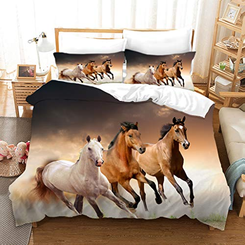 BATTE - Set copripiumino con motivo cavallo di animali, in poliestere morbido, per bambini, con federe, per bambini e bambine (135 x 200 cm)
