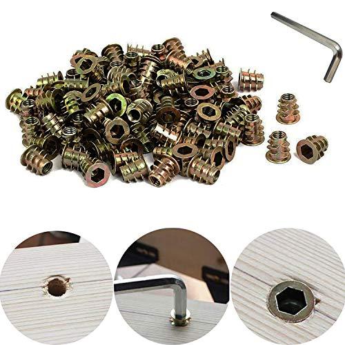CESFONJER 56 pcs/bolsa Rosca Hex Socket, Aleación Zinc Insertos de Rosca M6*15mm Carpintería Madera Kit de Herramienta de Surtido de Tuercas para Mueble de Madera (1 Pcs llave hexagonal)
